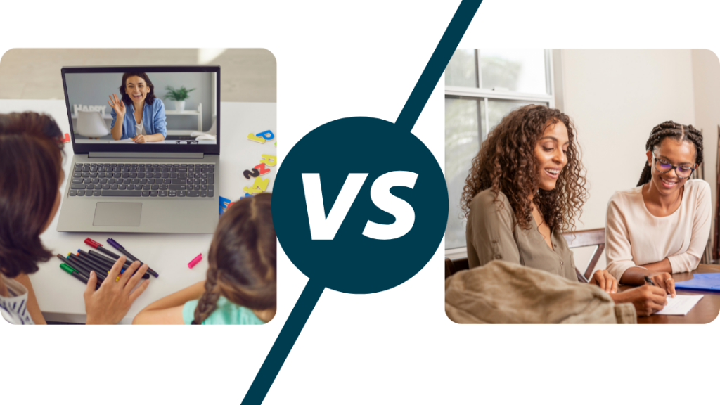 picture of a tutor on a laptop screen and a versus sign next to a picture of an tutor and child sitting next to each other at a table
